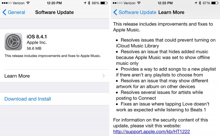 Apple releases iOS 8.4.1 for all supported devices